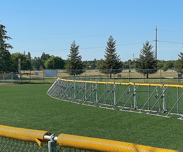 Sportafence in the outfield of a ball field