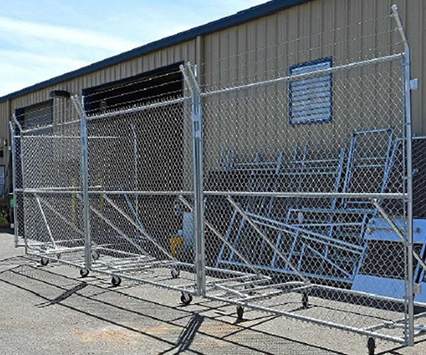 10x10 foot wheeled security fence panel