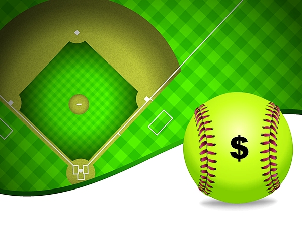 softball with $ and field illustration